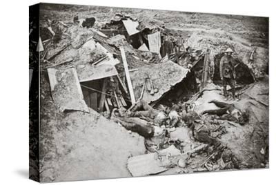 German machine-gun emplacement destroyed by British artillery fire, France, World War I, 1916-Unknown-Stretched Canvas Print
