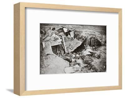 German machine-gun emplacement destroyed by British artillery fire, France, World War I, 1916-Unknown-Framed Photographic Print