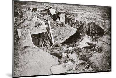 German machine-gun emplacement destroyed by British artillery fire, France, World War I, 1916-Unknown-Mounted Photographic Print