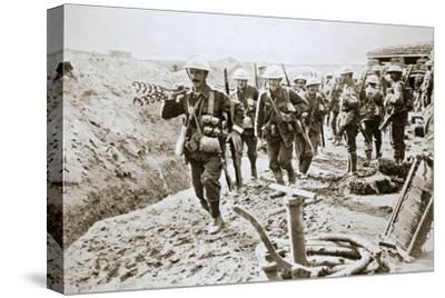 A British wiring party going up to the trenches, Somme campaign, France, World War I, 1916-Unknown-Stretched Canvas Print