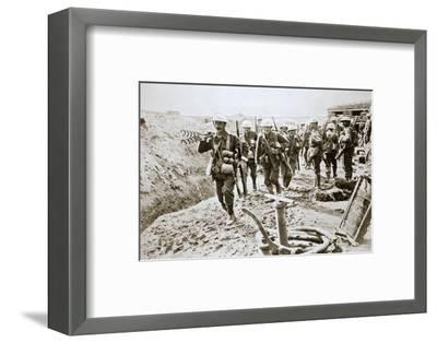 A British wiring party going up to the trenches, Somme campaign, France, World War I, 1916-Unknown-Framed Photographic Print