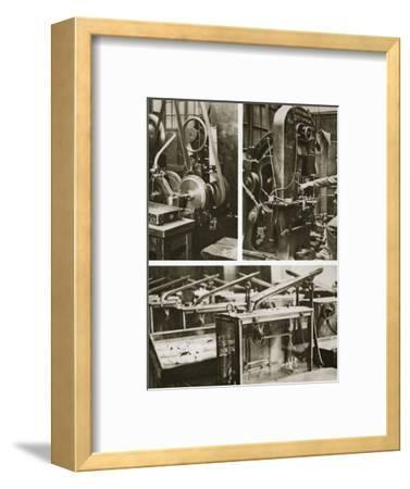 Money making; stamping and milling the disks and weighing the finished coins, 20th century-Unknown-Framed Photographic Print