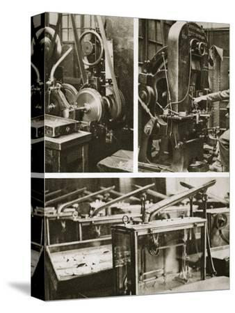 Money making; stamping and milling the disks and weighing the finished coins, 20th century-Unknown-Stretched Canvas Print