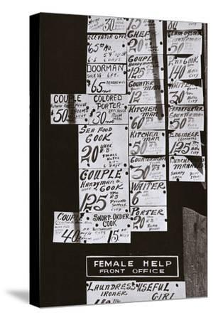 Window of an employment office, on Sixth Avenue near Forty-third Street, New York, early 1930s-Unknown-Stretched Canvas Print