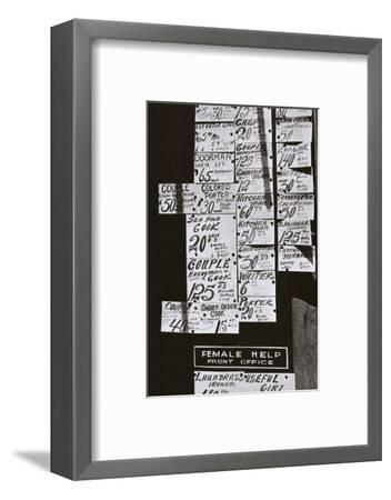 Window of an employment office, on Sixth Avenue near Forty-third Street, New York, early 1930s-Unknown-Framed Photographic Print