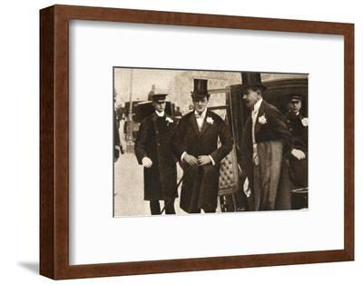 Winston Churchill arriving at the doors of St Margaret's, Westminster, on his wedding day, 1908-Unknown-Framed Photographic Print