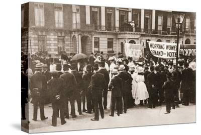 Spectators gather on Portland Place to watch the Women's Sunday procession, London, 21 June 1908-Unknown-Stretched Canvas Print