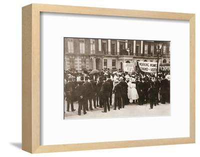 Spectators gather on Portland Place to watch the Women's Sunday procession, London, 21 June 1908-Unknown-Framed Photographic Print