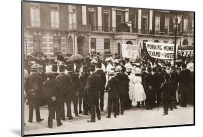 Spectators gather on Portland Place to watch the Women's Sunday procession, London, 21 June 1908-Unknown-Mounted Photographic Print