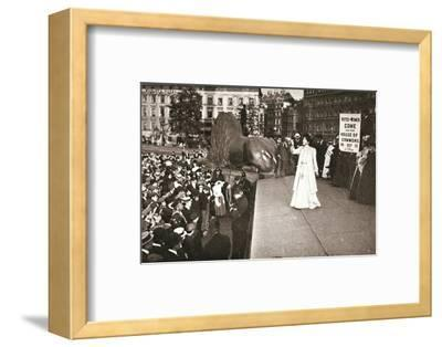 Christabel Pankhurst, British suffragette, addressing a crowd in Trafalgar Square, London, 1908-Unknown-Framed Photographic Print