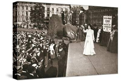 Christabel Pankhurst, British suffragette, addressing a crowd in Trafalgar Square, London, 1908-Unknown-Stretched Canvas Print