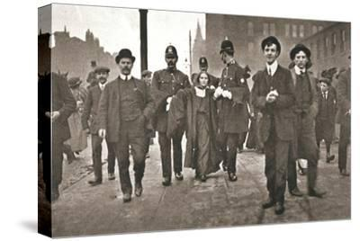 Arrest of Dora Marsden, British suffragette, outside the Victoria University of Manchester, 1909-Unknown-Stretched Canvas Print