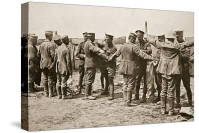 British soldiers searching captured German prisoners, Somme campaign, France, World War I, 1916-Unknown-Stretched Canvas Print