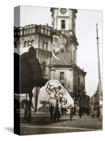 The Bolsheviks cover official buildings with their art, Petrograd (St Petersburg), Russia, 1918-Unknown-Stretched Canvas Print