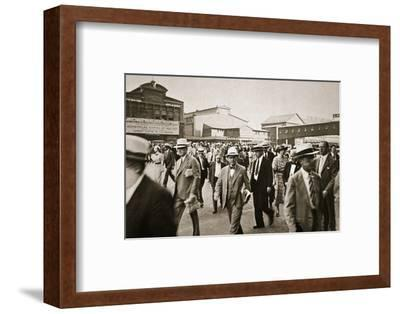 Commuters from New Jersey crossing West Street from the Hoboken ferry, New York, USA, early 1930s-Unknown-Framed Photographic Print