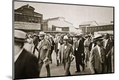 Commuters from New Jersey crossing West Street from the Hoboken ferry, New York, USA, early 1930s-Unknown-Mounted Photographic Print