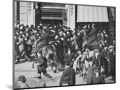 Mounted police disperse a crowd, Union Square, New York City, USA, late 19th or early 20th century-Unknown-Mounted Photographic Print