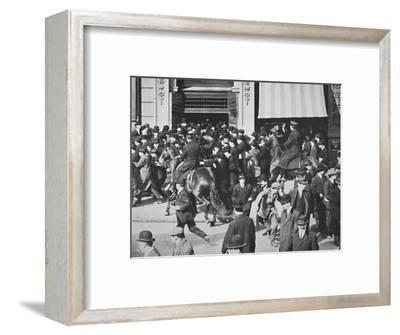 Mounted police disperse a crowd, Union Square, New York City, USA, late 19th or early 20th century-Unknown-Framed Photographic Print