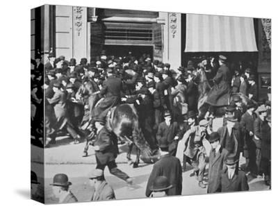 Mounted police disperse a crowd, Union Square, New York City, USA, late 19th or early 20th century-Unknown-Stretched Canvas Print