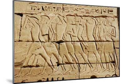 Detail of a relief on the mortuary temple of Ramesses III-Werner Forman-Mounted Giclee Print