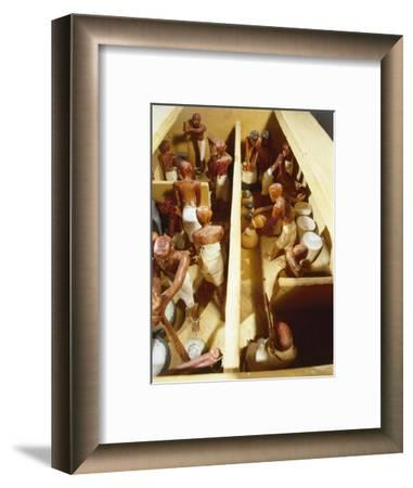 Wooden model a bakery. Workers grind grain to flour-Werner Forman-Framed Giclee Print