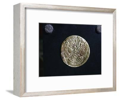 Gold disc embossed with feline images, probably made as an applique piece for a costume-Werner Forman-Framed Giclee Print