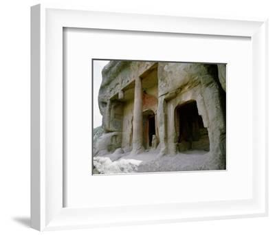 The entrance to one of the cave temples at Tianlong Shan, perched high on the cliff face-Werner Forman-Framed Giclee Print