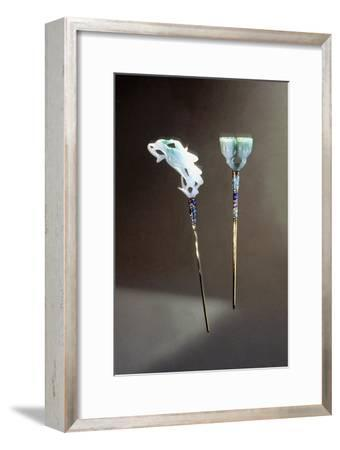 Hairpins with jade ends-Werner Forman-Framed Giclee Print