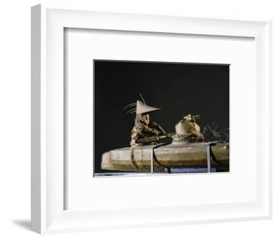 "Two figures in a kayak - a ""soul boat""-Werner Forman-Framed Giclee Print"