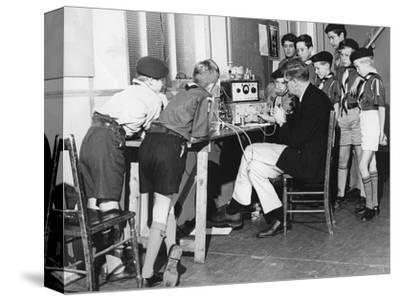 Boy scouts learning radio transmitting, 1960s-Tony Boxall-Stretched Canvas Print
