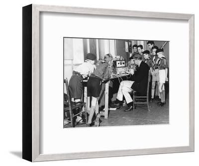 Boy scouts learning radio transmitting, 1960s-Tony Boxall-Framed Photographic Print