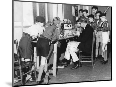 Boy scouts learning radio transmitting, 1960s-Tony Boxall-Mounted Photographic Print