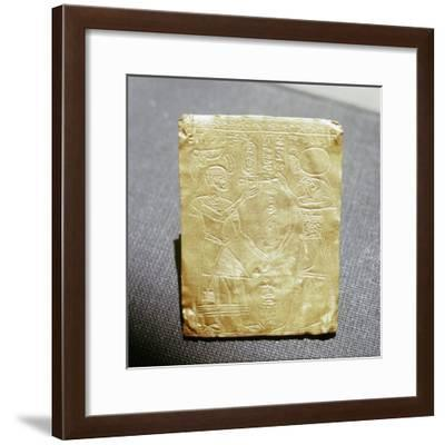 Incised Nubian gold plaque depicting a Meroitic king honouring the Egyptian god Horus, Sudan-Werner Forman-Framed Giclee Print
