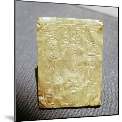 Incised Nubian gold plaque depicting a Meroitic king honouring the Egyptian god Horus, Sudan-Werner Forman-Mounted Giclee Print
