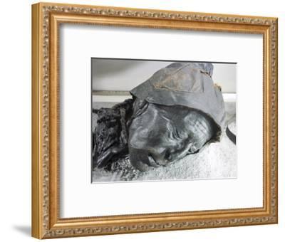 Tollund man, Iron Age victim of human sacrifice by ritual strangulation, Viking, Denmark-Werner Forman-Framed Giclee Print