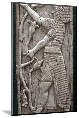 Ivory fragment depicting a warrior, Phoenician, Iraq, last third of 8th century BC-Werner Forman-Mounted Photographic Print