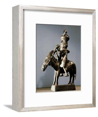 Bronze figure of a warrior on horseback, Benin, Nigeria, late 17th - early 19th century-Werner Forman-Framed Photographic Print