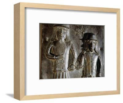 Brass plaque which decorated the palace of the Benin Obas, Benin City, Nigeria, 1575-1625-Werner Forman-Framed Photographic Print