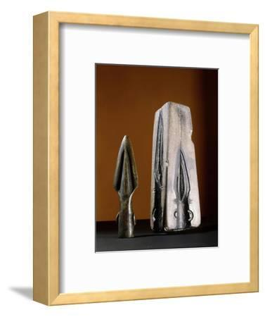 Bronze spearhead and mould, pre-Celtic or early Celtic Britain-Werner Forman-Framed Giclee Print