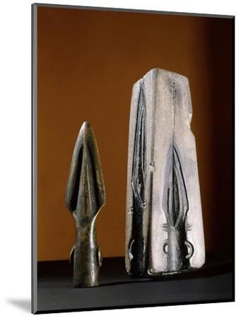 Bronze spearhead and mould, pre-Celtic or early Celtic Britain-Werner Forman-Mounted Giclee Print