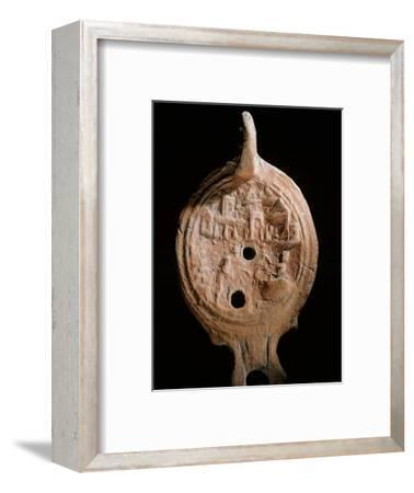 Oil lamp, Ancient Egyptian, Ptolemaic period, 305-30 BC-Werner Forman-Framed Giclee Print