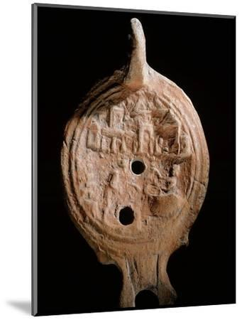 Oil lamp, Ancient Egyptian, Ptolemaic period, 305-30 BC-Werner Forman-Mounted Giclee Print