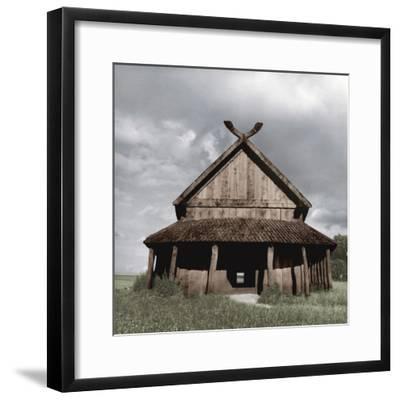 Reconstruction of the Viking barracks at the fortress of Trelleborg, Slagelse, Denmark-Werner Forman-Framed Photographic Print