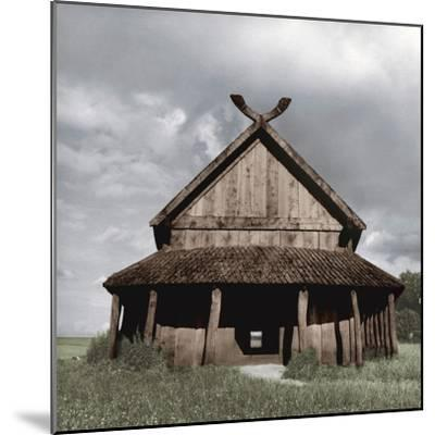 Reconstruction of the Viking barracks at the fortress of Trelleborg, Slagelse, Denmark-Werner Forman-Mounted Photographic Print