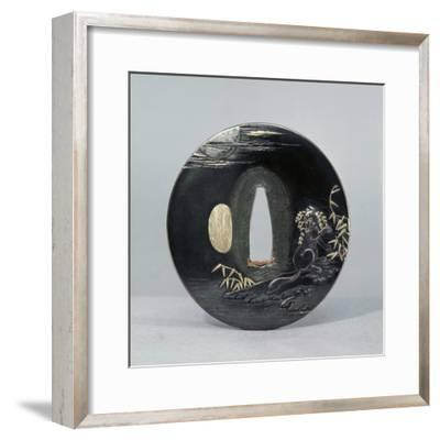 Shibuichi (copper and silver alloy) tsuba (sword guard), Japanese, 1770-Werner Forman-Framed Photographic Print