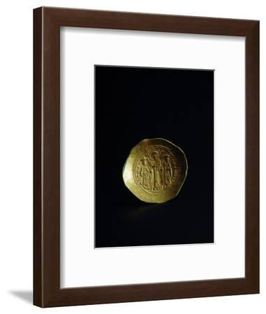 Obverse of a gold scyphate (coin) of Romanos IV, Byzantine, 11th century-Werner Forman-Framed Photographic Print