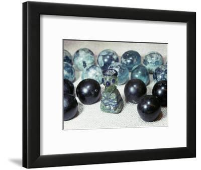 Glass gaming pieces found at Birka, Sweden-Werner Forman-Framed Photographic Print