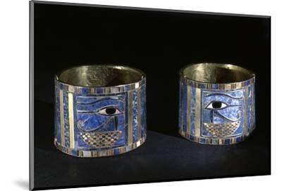 Bracelets with Wedjat eyes, Ancient Egyptian, 22nd dynasty, c890 BC-Werner Forman-Mounted Photographic Print