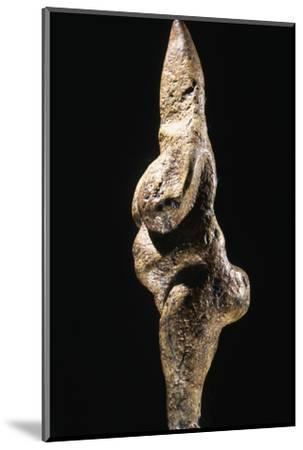 Stylised serpentine female figurine, Italy, Paleolithic, Aurignacian-Perigordian period, c25,000 BC-Werner Forman-Mounted Photographic Print
