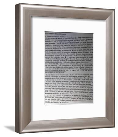 Information on Einstein's blackboard, 1931-Werner Forman-Framed Photographic Print